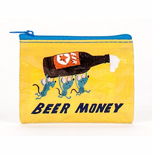 Blue Q Coin Purse, Beer Money. Made from 95% recycled material, the ultimate little zipper bag to corral money, ear buds, gift cards, stamps, vitamins, coins. 3h x 4w