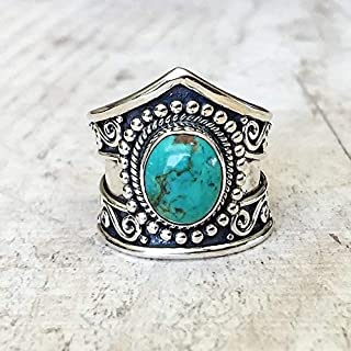 Metmejiao Women Men 925 Silver Ring Gift Gemstone Turquoise Wedding Engagement Size 6-10