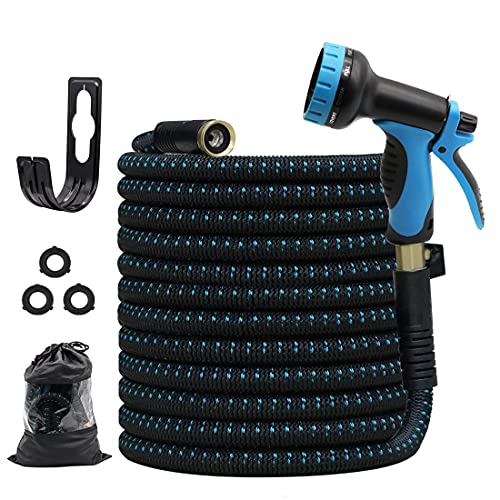 """GUKOK 75ft Garden Hose, All New 2021 Expandable Water Hose with 3/4"""" Solid Brass Fittings, Extra Strength Fabric - Lightweight Flexible Expanding Hose with Spray Nozzle, Hook up"""