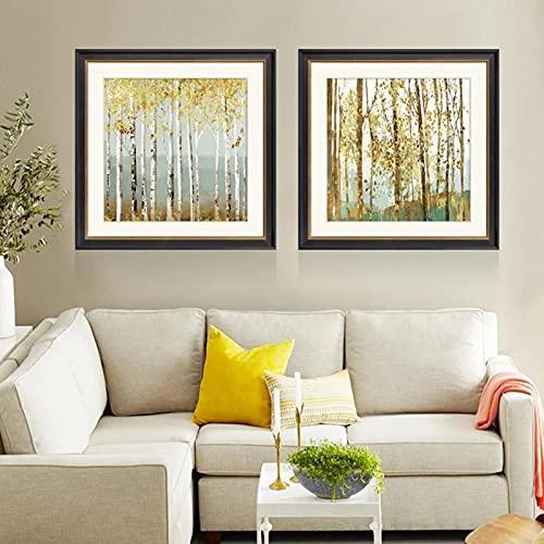 HHSJBY Pintura Abstracta de Cuchillo Moderno Abedul árboles Bosque Lienzo Pintura hogar Buen Arte de Pared Lienzo decoración Moderna 2 Piezas 60x60cm / 23.6'x23.6 Sin Marco