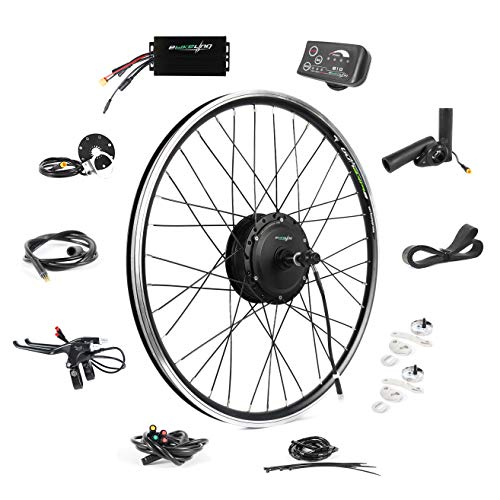 EBIKELING 36V 500W 26' Geared Waterproof Electric Bike Kit - Ebike Conversion Kit - Electric Bike Conversion Kit (Front/LED/Thumb)