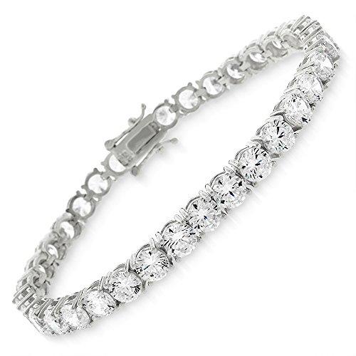 Sterling Silver 5mm Brilliant-Cut Clear Round CZ White Tennis Bracelet 6.5