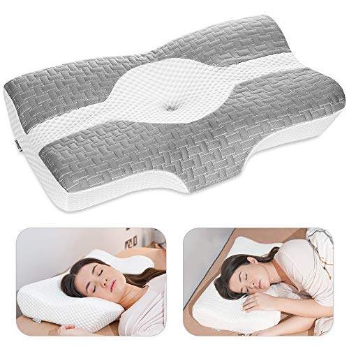 Elviros Cervical Pillow, Memory Foam Bed Pillows for Neck Pain Relief, Adjustable Ergonomic Orthopedic Contour Support Pillow for Sleeping, Back,...