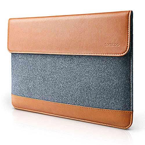 tomtoc Slim Tablet Sleeve Case for 10.9-inch New iPad Air 4, 11-inch iPad Pro, 10.5 iPad Air/Pro, 10.2 iPad, Microsoft Surface Go 2/1, Samsung Galaxy Tablet, Leather Felt Bag with Accessory Pocket