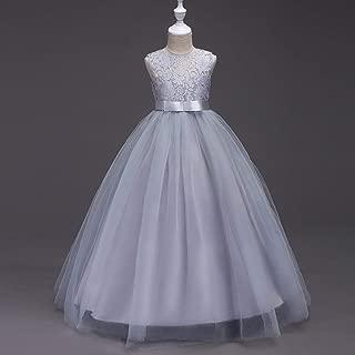 Children's Lace Multicolor Cute Bow Sleeveless Hanging Dress Princess Dress Lace Wedding Dress Long Tutu - Gray 160Cm