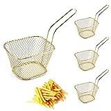 Set di 4 cestini per patatine fritte per servire cibo presentazione cestini per patatine fritte, gamberetti, anelli cipolla verdure, colori diversi, oro
