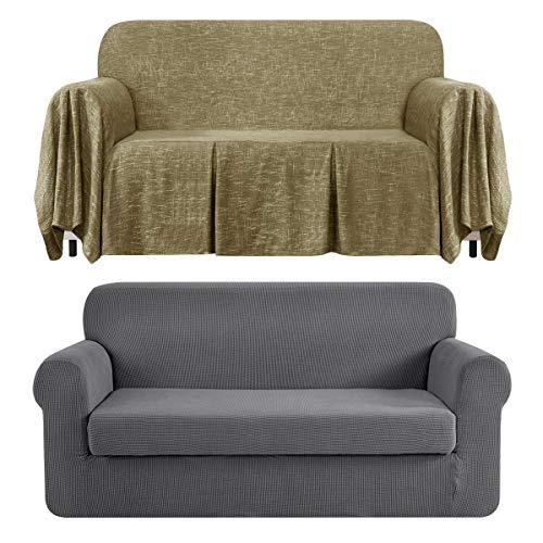 CHUN YI Stretch 2-Piece Loveseat Sofa Slipcover Bundles 1-Piece Medium Linen Sofa Throw Cover with Ruffle Design( Light Gray, Khaki)
