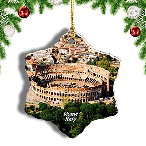 Weekino Italy Colosseum Rome Christmas Ornament Travel Souvenir Tree Hanging Pendant Decoration Porcelain 3' Double Sided