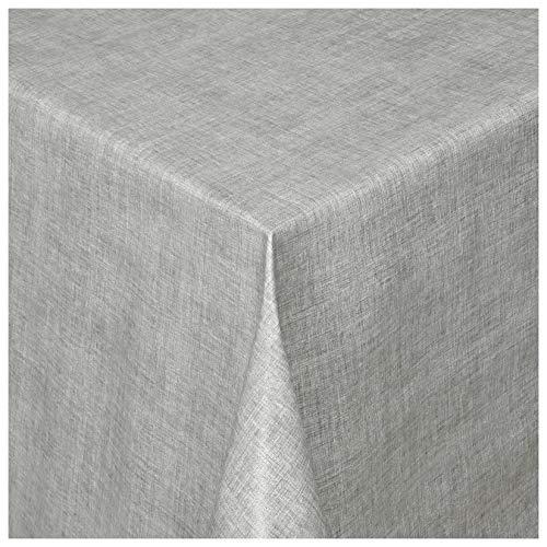 MODERNO Wachstischdecke Wachstuch Tischdecke Gartentischdecke abwaschbar eckig 180x140 cm Linien Grau