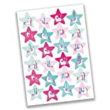 Papierdrachen 24 Adventskalender Zahlen Sticker - rosane Sterne Nr 38 - Aufkleber zum Basteln und Dekorieren