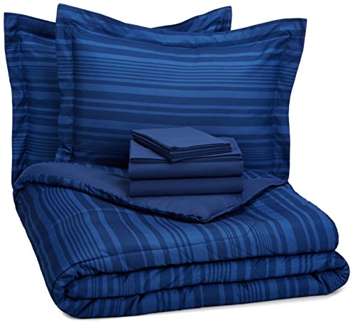 AmazonBasics 7-Piece Light-Weight Microfiber Bed-In-A-Bag Comforter Bedding Set - Full or Queen, Royal Blue Calvin Stripe
