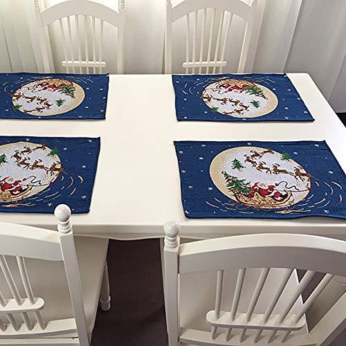 Tovagliette di Natale Sottobicchieri Tappetini da Tavolo Regalo di Babbo Natale Tessuto Jacquard Artigianale Tecnica di Tessitura Regali di Decorazione Natalizia Antiaderenti 4 PCS