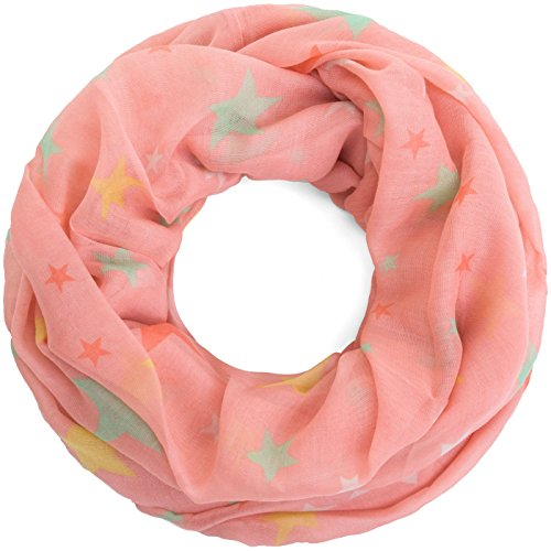 Compagno Damen Loopschal Stars & Stars weicher und leichter Schal Loop mit Sternen, SCHAL Farbe:Rosa-Bunt