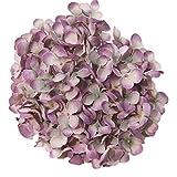 Gankmachine DIY 19cm Hortensia Flor del Arte Artificial Heads decoración de la Boda Floral de Seda,Púrpura,As Shown
