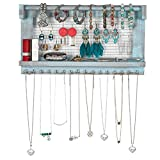 YOUTHUP Wall Mounted Mesh Jewelry Organizer with Removable Bracelet Rod, Wooden Earring Holder with Shelf, Hanging Hook for Necklace Bracelets (Blue)