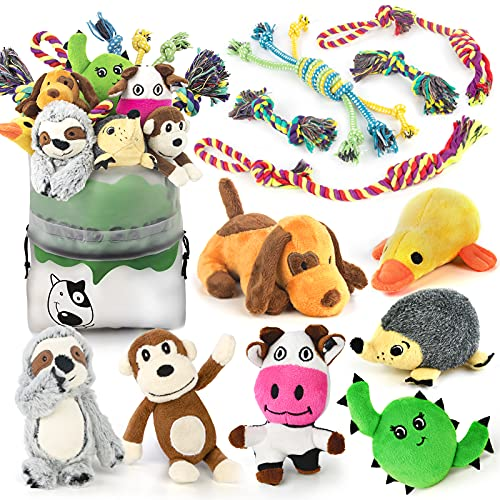 Dog Squeaky Toys for Small Dogs, 12 Pack Puppy Toys for Teething Cute Small Dog Toys Stuffed Plush Dog Toy Bundle Natural Cotton Puppy Rope Toy Dog Chew Toys for Puppies Pet Toys for Dogs
