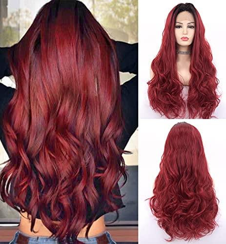 LEMEIZ Negro Ombre Pelucas rojas para las mujeres Borgoña Pelucas con raíces negras ondulado natural 99J Encaje frente peluca parte media pelo sintético vino rojo encaje peluca LEMEIZ-068