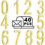 40 Numeri di Cassetta Postale 0-9 Numeri di Indirizzo Autoadesivi Numeri di Porta Riflettenti Segni di Cassetta Postale per Casa Mailbox Appartamento (2 X 1,4 Pollici, Oro)