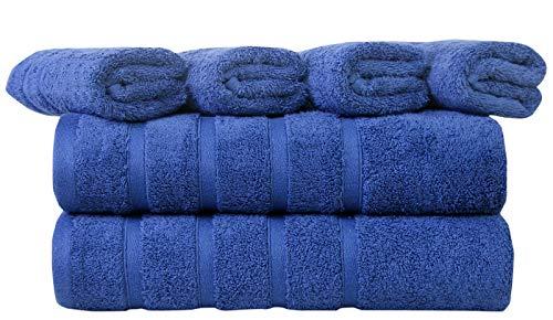 Eono by Amazon - 600 gsm 100% algodón Peinado 2 Toallas de baño 70x140, 4 Toallas de Mano 40x70 CM - Paquete de 6 Altamente Absorbente y Ultra Suave SPA de Hotel y Uso Diario - Azul