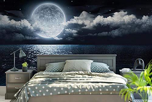 Fotomurales 3D Cielo Estrellado, Mar, Luna De Noche Fotográfico Mural Papel Pintado Fotomurales Salón Dormitorio Decoración de Paredes Wallpaper 150cm×105cm