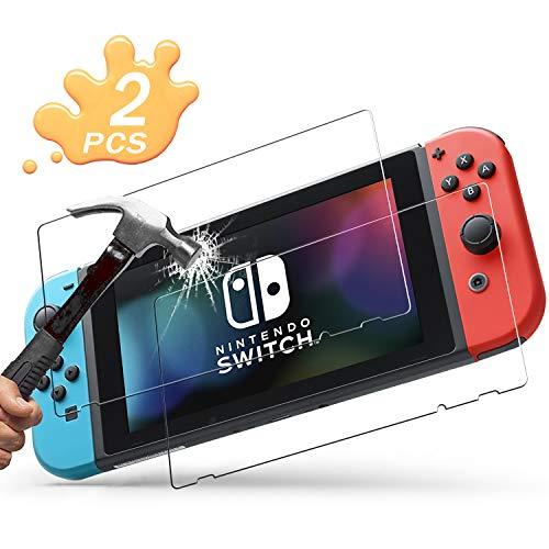 Migimi Nintendo Switch Displayschutzfolie Glas (2 Stück), Panzerglas Schutzfolie [9H Härte] [Anti- Kratzer] [Bläschenfrei] [2.5D Runde Kante] für Nintendo Switch