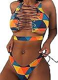 SFHFY Women's 2 Pieces African Print Bathing Suit Bikini Set Lace up Padded Thong Swimsuit (Large, Yellow)