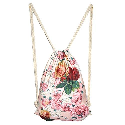 jj Store da donna fiore zaino scuola bag borsa da viaggio con coulisse borsa di tela