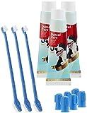 Sweetypet Zahnbürste für Hunde: 4in1-Zahnpflege-Set f. Hunde: Zahnpasta, Zahn- & Fingerbürsten,3er-Set (Set mit Zahnbürste für Hunde)