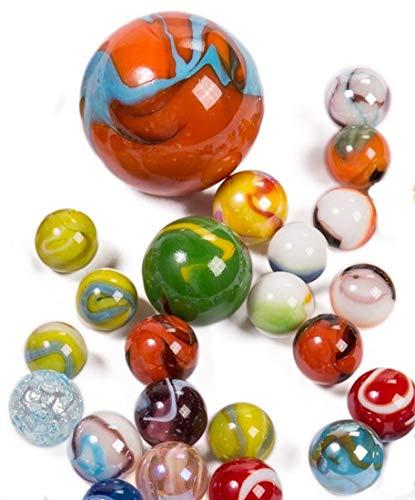 CBK-MS. 500g Verschiedene Größen Glas Knicker Mehrfarbig Sortiert im Netz Murmeln