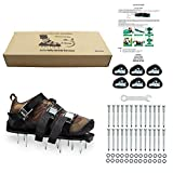 ZDTech Lawn Aerator Shoes Heavy Duty Spiked Sandals Metal Buckles and 3 Straps for Aerating Your Lawn or Yard (Black)