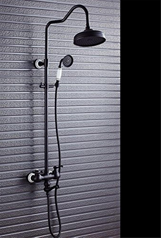 Gyps Faucet Waschtisch-Einhebelmischer Waschtischarmatur Badarmaturan der Wand angebrachte Dusche Badezimmer Schwarz Messing Antik Handbrause Blau gefliesten Dekor Wasserhahn Dusche Schwarz,Mischba
