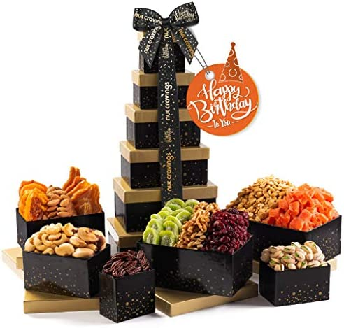 Happy Birthday Nut Dried Fruit Tower Gift Basket 12 Mix Valentine Food Arrangement Platter Care product image