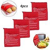 Microwave Potato Bag-4pack, Reusable Microwave Cooker Bag, Potato Baked Pouch, Red