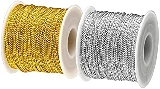 BTNOW 2 Spool 218 Yards/ 656 Feet Metallic Cord Tinsel String Craft Making Cord (Gold and Silver)