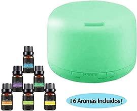 YOMYM 500ML Difusor de Aceites Esenciales - Difusor Aromaterapia Difusores de Aromas Humidificador Aromaterapia Purificador de Ambiente Ultrasónico Luces Ajustables de 7 Colores con 6 Botellas de Aceite Esencial