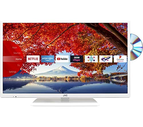 JVC 32 inch Smart HD Ready LED TV with Built-in DVD Player and Freeview HD with Freeview Play - (White)