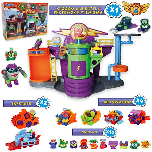 SuperZings Serie 5 - Kazoom Lab Battle y Pack Sorpresa con 16 Sets | Contiene Juguete Kazoom Lab Battle, 10 Sobres One Pack, 4 Aerowagons y 2 Skyracers | Juguetes y Regalos para Niños y Niñas
