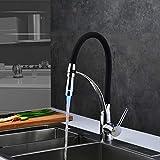 LED rubinetti della cucina con gomma design cromato rubinetto del miscelatore per la cucina singola maniglia tirare verso il basso della piattaforma gru per lavelli