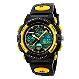 Kids Sports Digital Watch -Boys Waterproof Outdoor Analog Watch with Alarm, Multi Function Wrist Watches for Childrens-Yellow