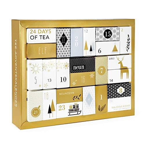Schubladen Tee Adventskalender - mit 24 koffeinfreien Tees in Pyramidenbeuteln, mit Honigsticks und kunstvollen