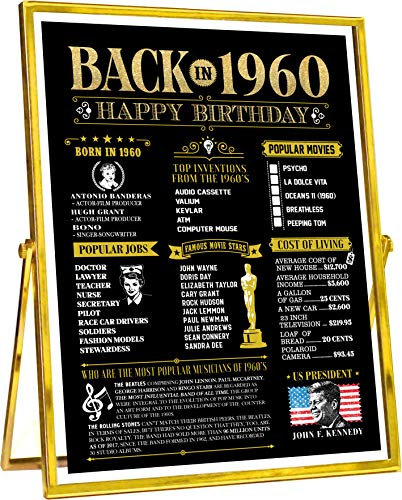 60th Happy Birthday Party Decorations for Women or Men 60 Years Old Bday Gifts | Fun Party Supplies and Favors | Home Decor Ideas | Gold Back in 1960 Anniversary [Unframed]