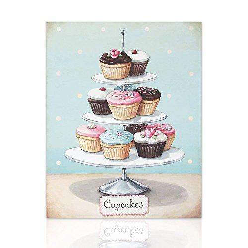 Declea Decoración de Pared Cupcake Muffin - Cuadro para Locales comerciales pastelería Bar heladería - Pintura Muebles para el hogar listos para Colgar - Disponible en Varios tamaños