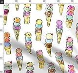 Eis, Sommer, Dessert, Wasserfarben, Kalligraphie Stoffe -