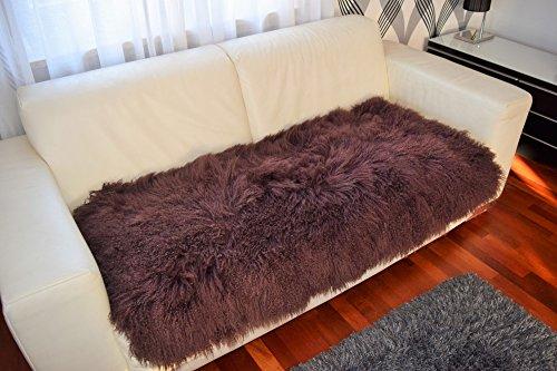 Tibetlamm Felldecke, Tagesdecke, Überwurf aus echtem Tibet Lammfell, Rückseite mit Stoff abgefütter, Hochwertig und Exklusiv! Flokati, Hochfloor, Lounge Style für Wohnzimmer, Schlafzimmer. (Braun, 70 x 140 cm)
