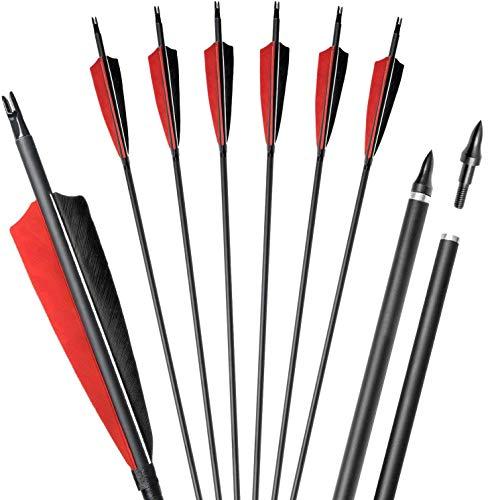 PMSM 31 Pulgadas Flechas de Caza de Práctica Tiro con Arco con 4'Plumas Reales,Columna Vertebral 500 Flechas de Carbono para Arco Recurvo Arcos Largos Tradicionales (12 Piezas)