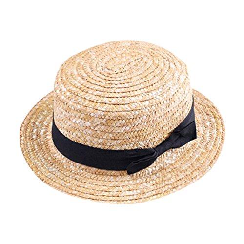 YOUJIA Unisexo Niños Sombreros de Paja de Sol, Ala Ancha Playa Sombrero con el Arco (Beige)