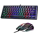 60% Wired RGB Gaming Keyboard and Mouse,Mini Compact 61 Keys Keyboard and Mouse,Led Backlit Gaming Keyboard and Mouse Combo for Laptop PC Computer Gaming and Work,Easy to Carry