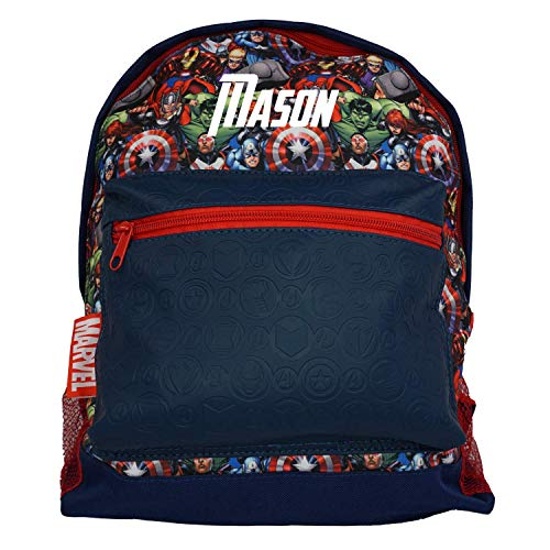 Avengers Assemble Officially Licensed Backpack- Plain/Personalised School Gifts Quality Product Stitching Padded Shoulder Straps Tension Resistant 100% Polyester (Personalised)