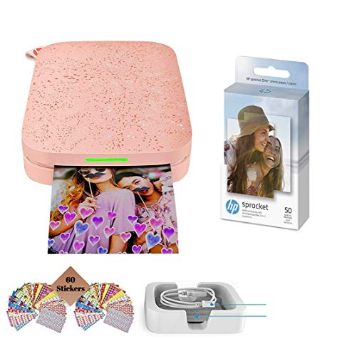 HP Sprocket Photo Printer (2nd Edition) Instantly Print Social Media Photos on 2x3 Sticky-Backed Paper (Blush) + Photo Paper (50 Sheets) + USB Cable + 60 Decorative Stick-On Border Frames