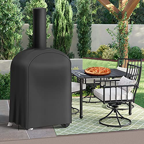 Essort Weatherproof Outdoor Pizza Oven Raincover, Cover for Wood-Fired, Charcoal-Fired Pizza / Bread Oven, Smoker, Barbecue, 160 x 37 x 50 cm, Black